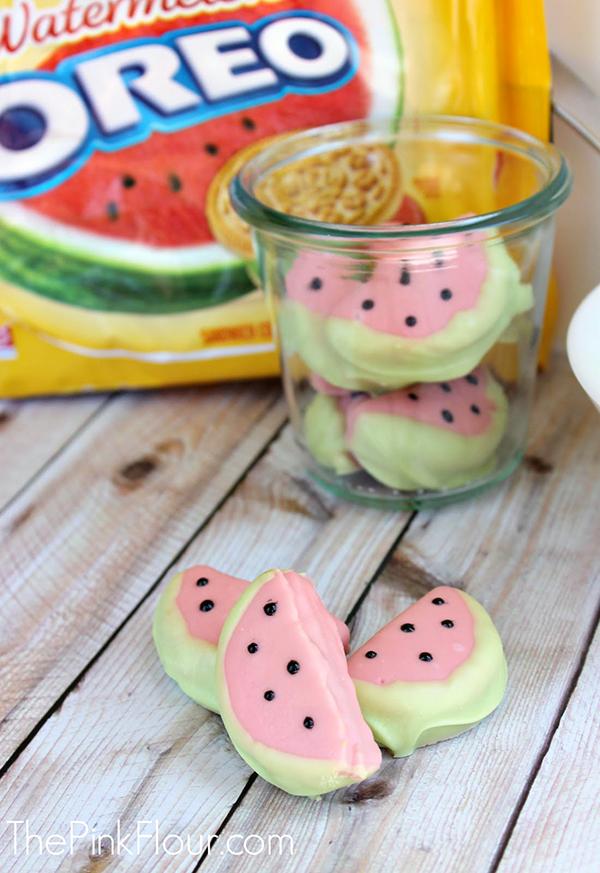 Watermelon Chocolate covered oreos!