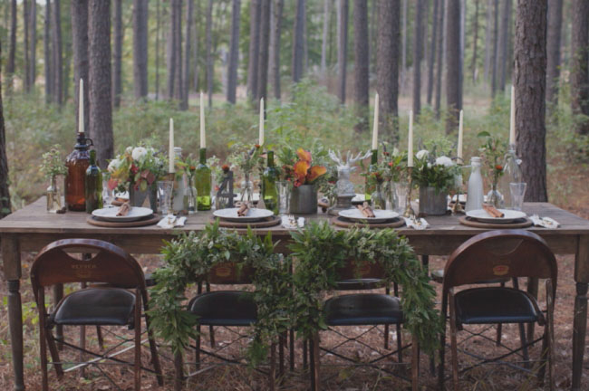 Awesome Rustic Woodland Wedding tablescape