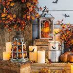Fall front porch Halloween Decorations