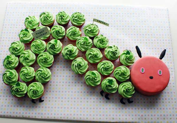 Love this very hungry caterpillar cupcake cake