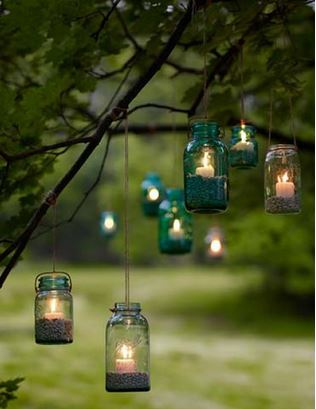 Lovely Mason Jar Candles For Backyard prettiness!