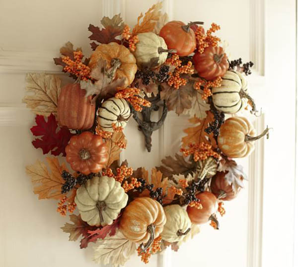 Lovely pumpkin & Leaf Fall Wreath