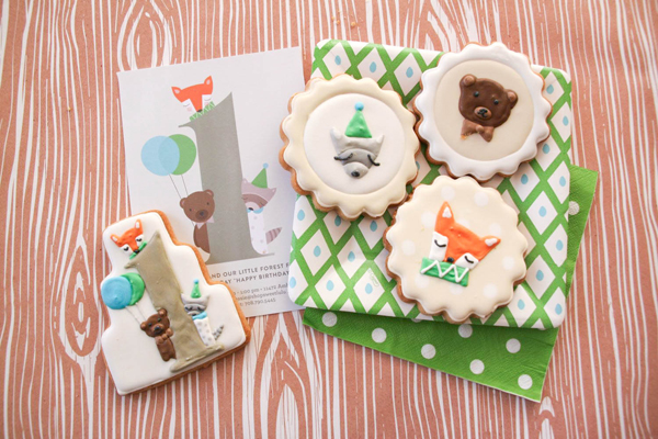 The cutest Woodland party invite and matching cookies!
