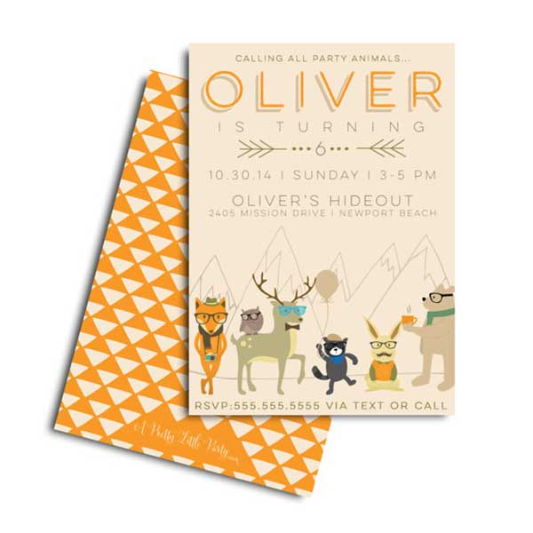 This hipster woodland party invite is too cute