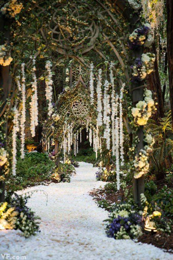 This woodland wedding entreance is gorgeous