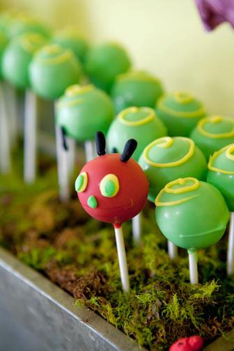 Very Hungry Caterpillar cake pops!