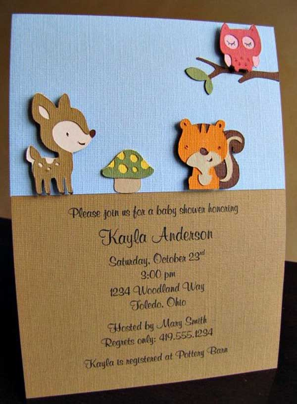 We love this cute woodland invite with tiny forest critters!