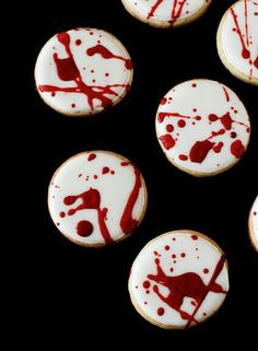 Blood spatter cookies for a Vampire Hallowene Party!