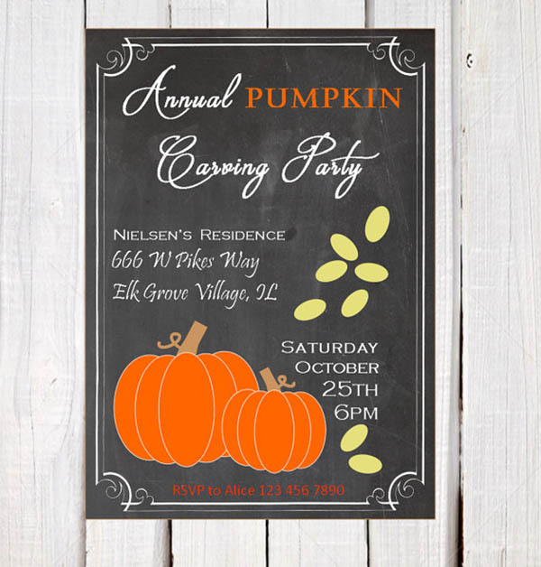 Darling chalkboard pumpkin carving invite!