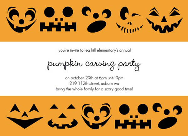Fun Pumpkin carving Halloween Invitation