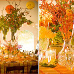 Love these colors in these fall wedding centerpieces!