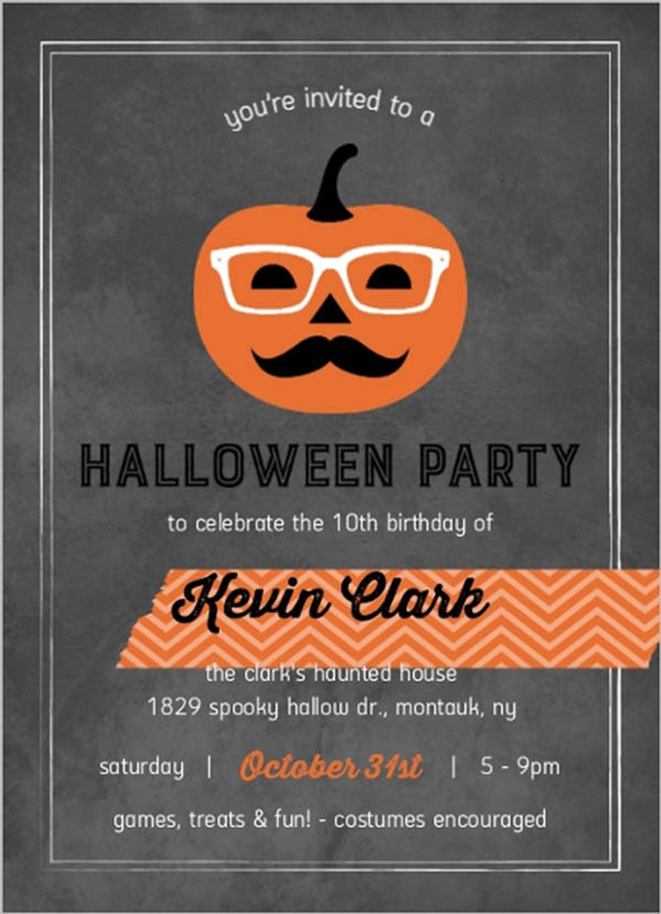 Love this fun Hipster Pumpkin Halloween Invitation
