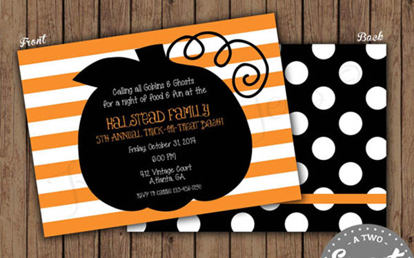 Modern Striped Halloween Pumpkin Invitation!