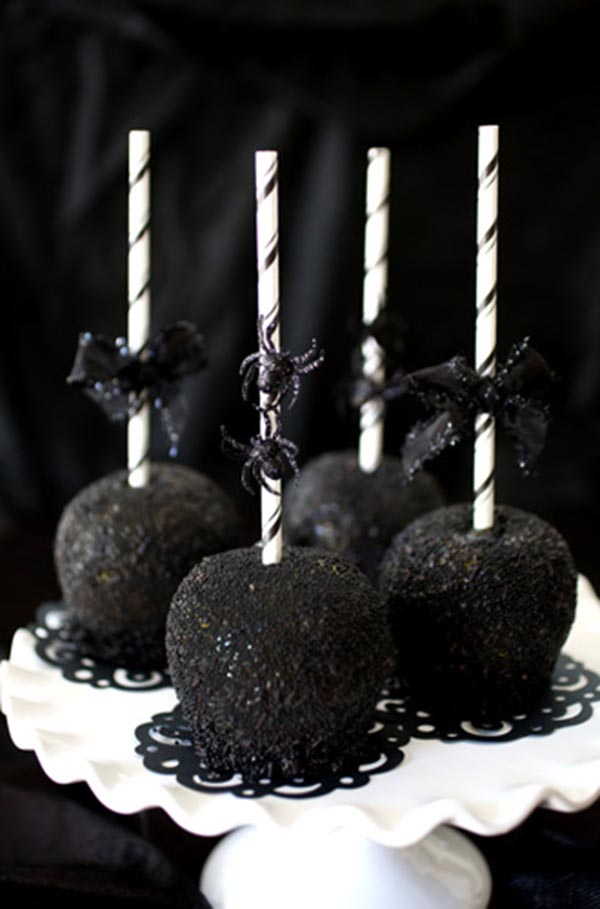 Spooky Black Halloween Caramel Apples