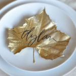 Gold Leaf place cards for Thanksgiving