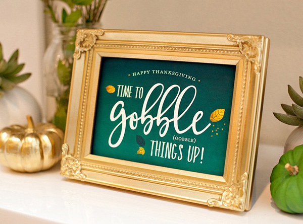 Modern Gold and green thanksgiving free printables