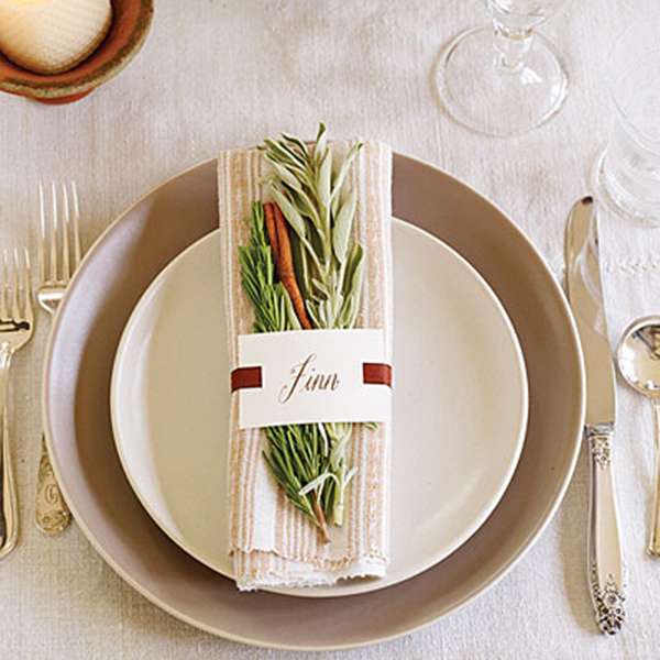 Natural Herb place card idea for Thanksgiving