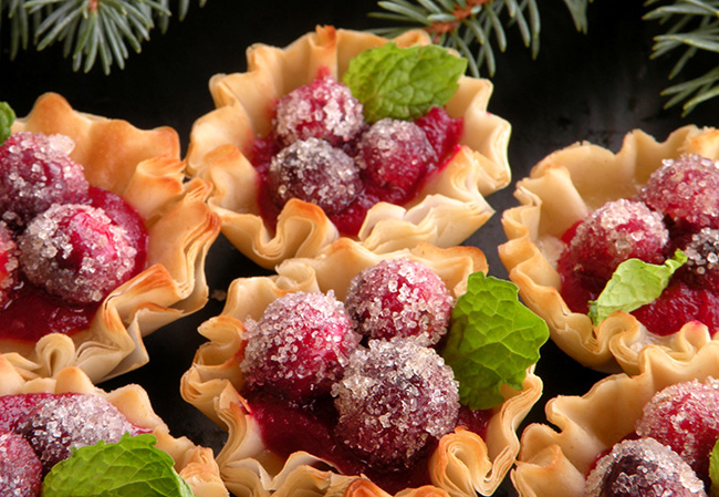 Sugared Cranberry tartelettes For Thanksgiving