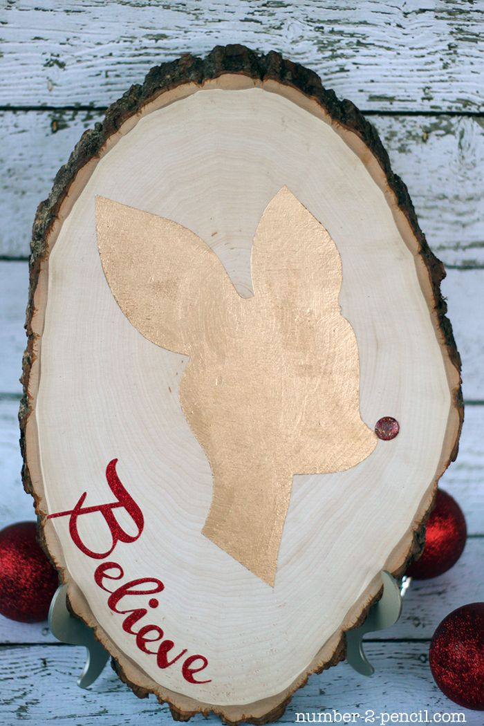 Believe reindeer rustic wooden sign-Love!