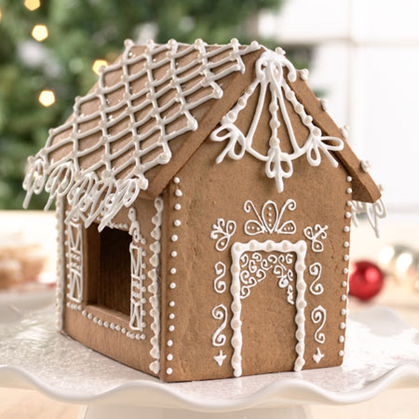This decorated gingerbread house is amazing!