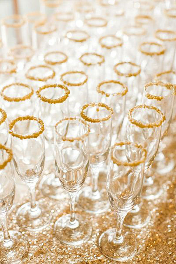 Gold Flake Rimmed Champagne glasses- Love this