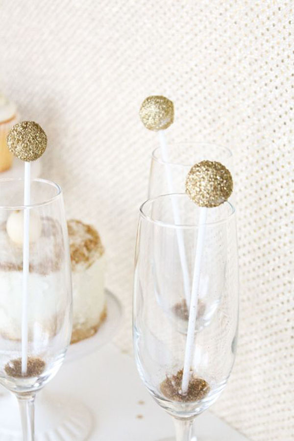 Gold Sparkle Ball Drink Stirrers- Great For A Gold Drink Touch!