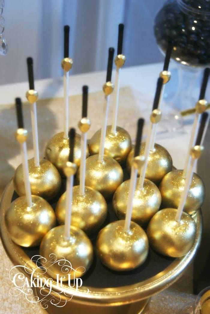 Golden dipped Cake Pops
