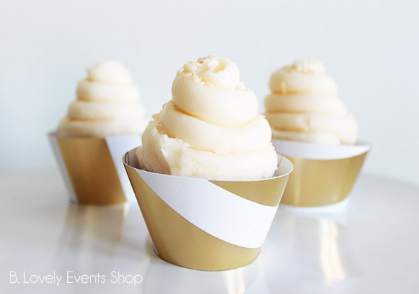Large Gold Stripe Cupcake Wrappers- B. Lovely Events