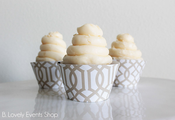 Light Brown Vintage Chic Pattern Cupcake Wrappers- B. Lovely Events