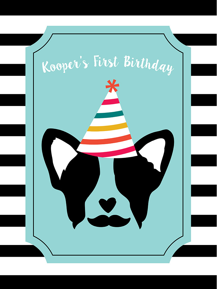 Pupstachio Doggie Birthday Poster - B. Lovely Events