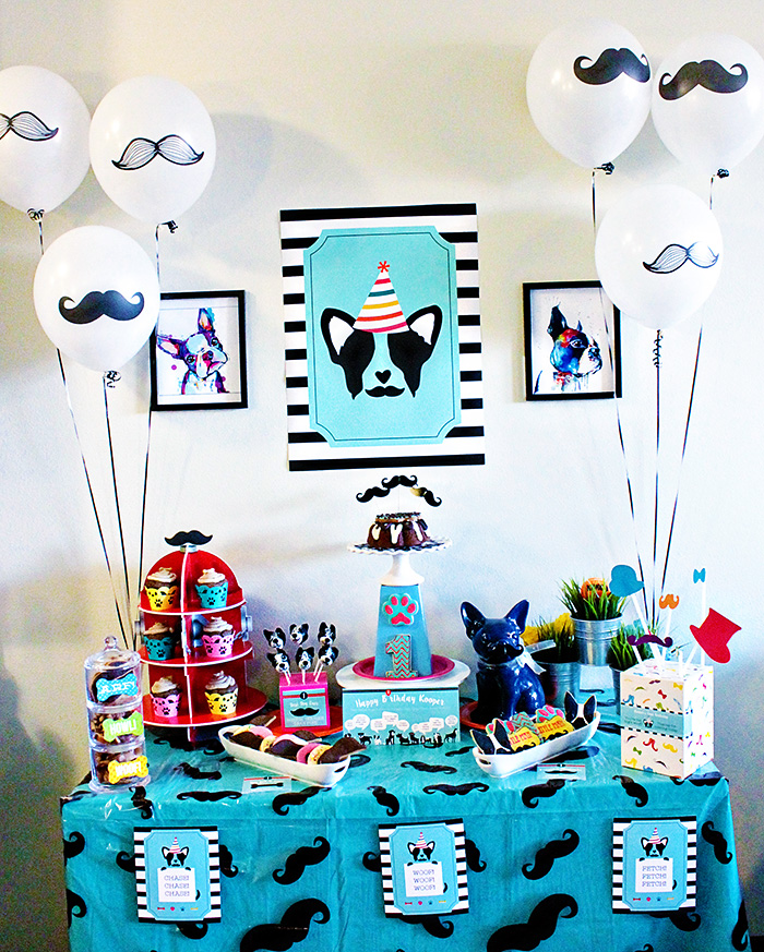 Pupstachio Mustache Doggie Birthday Party - B. Lovely Events