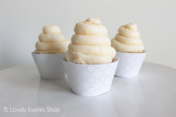 White And SIlver Moroccan Pattern Cupcake Wrappers- B. Lovely Events