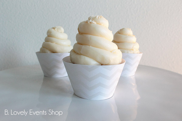 White And Silver Chevron Cupcake Wrappers- B. Lovely Events