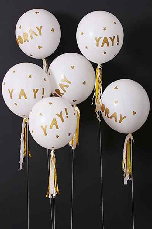 Yay and horray gold balloons