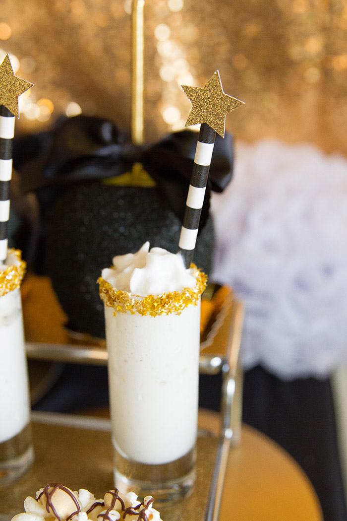 Black and gold Oscar Party- Milkshake treats -See More Oscar Party Ideas On B. Lovely Events