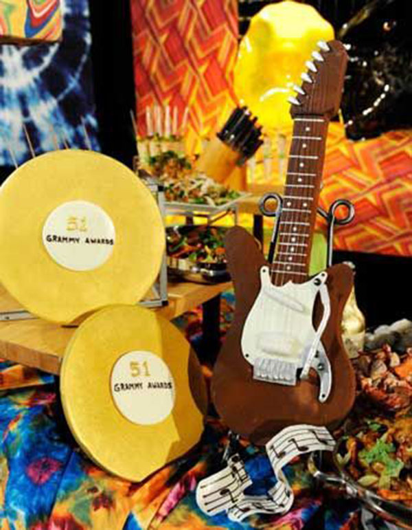 Chocolate Guitar and Gold Vinyl Cake-perfect for a Grammy Party!