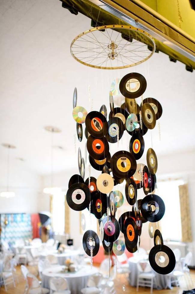 Vinyl record chandelier/ Mobile