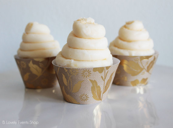 BoHo Floral and Leaf Cupcake Wrappers- Shop All Of The Boho Cupcake Wrappers  at the B. Lovely Events Shop