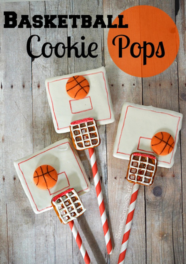 Fun basketball cookie pops by sweetsimplestuff! - See More March Madness Basketball Snacks On B. Lovely Events