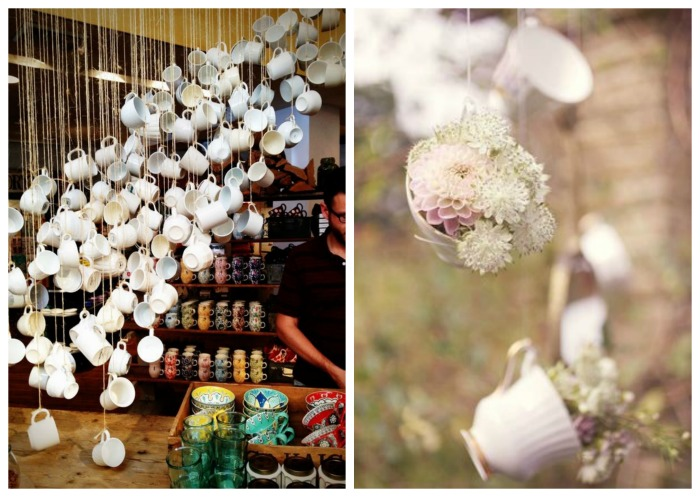 Hanging Teacup Decorations- Love this idea for Summer party decor! - B. Lovely Events
