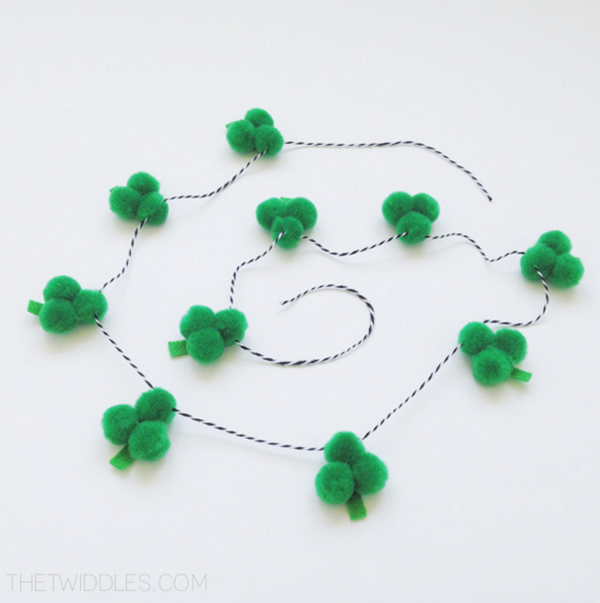 Love this DIY PomPom Shamrock garland! -See More Shamrock Banners & Garlands On The Blog! B. Lovely Events