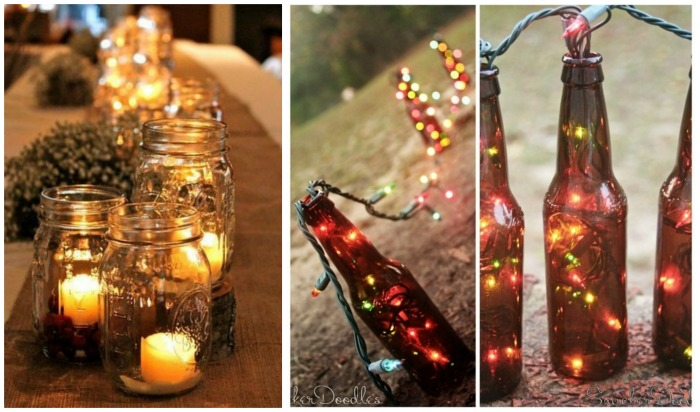 Outdoor Candle And Lit Bottle Decorations- B. Lovely Events