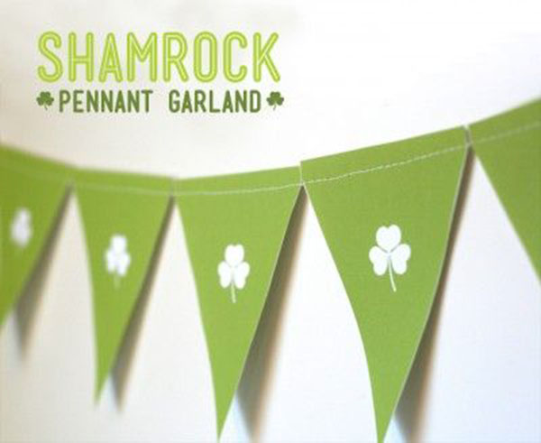 Shamrock Pennant banner- So cute! -See More Shamrock Banners & Garlands On The Blog! B. Lovely Events