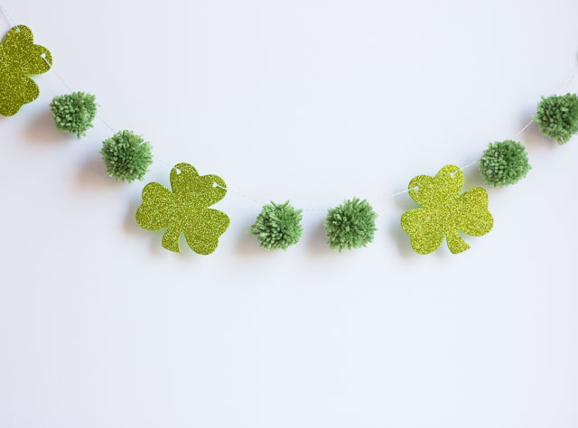 St. Patricks Day Shamrock Garland with pom poms! -See More Shamrock Banners & Garlands On The Blog! B. Lovely Events
