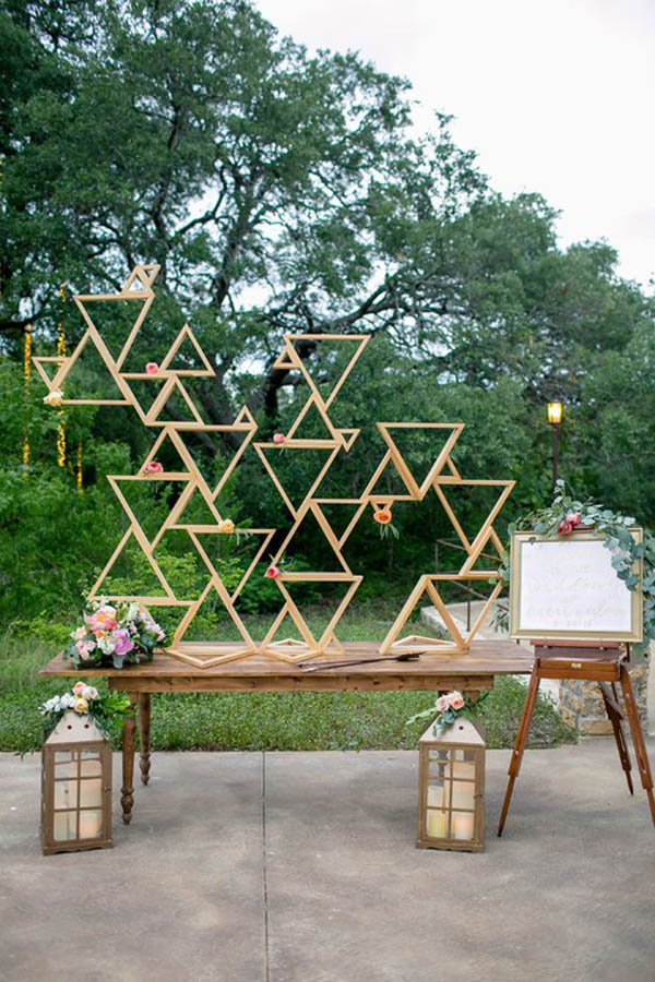 Awesome geometric Backdrop- See more amazing party trends for 2016 at B. Lovely Events!