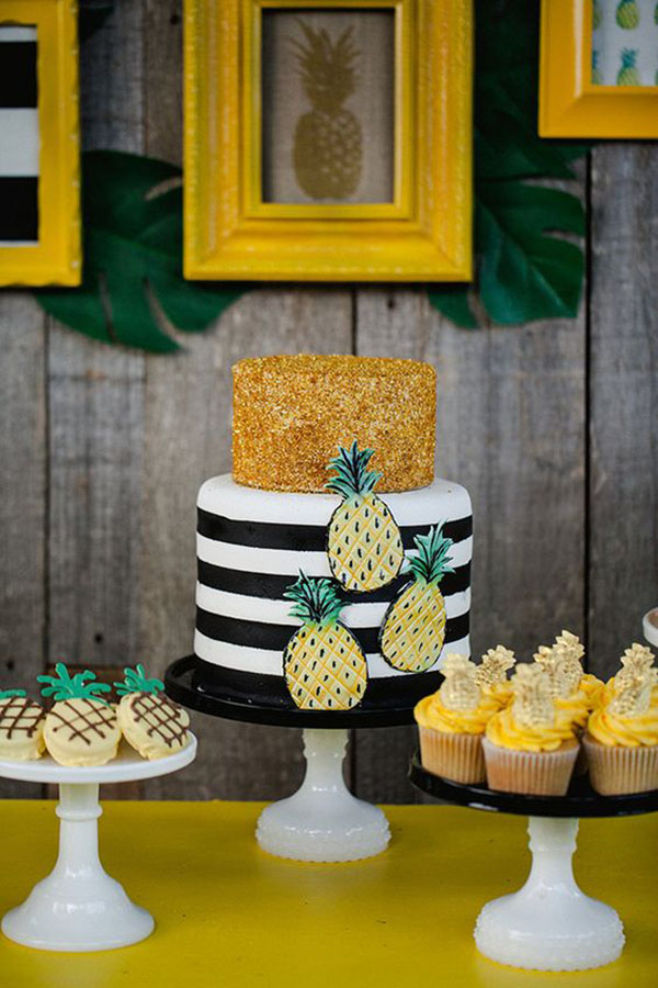 Beautiful Black and white pineapple cake - See More Lovely Pineapple Party Ideas At B. Lovely Events!