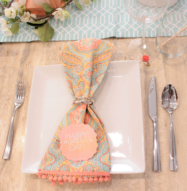 Fun Mother's Day Table And napkins for a lovely place setting- See How To Put It Together On B. Lovely Events!