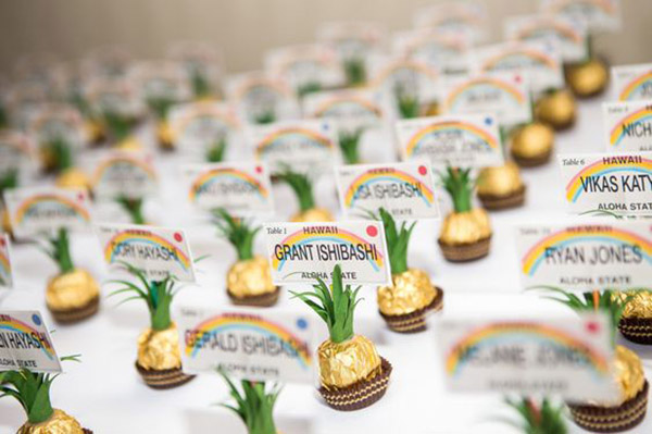 Fun Pineapple Escort Cards With chocolates - See More Lovely Pineapple Party Ideas At B. Lovely Events!