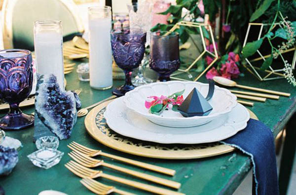 Geode Gem Table Setting - See more amazing party trends for 2016 at B. Lovely Events!