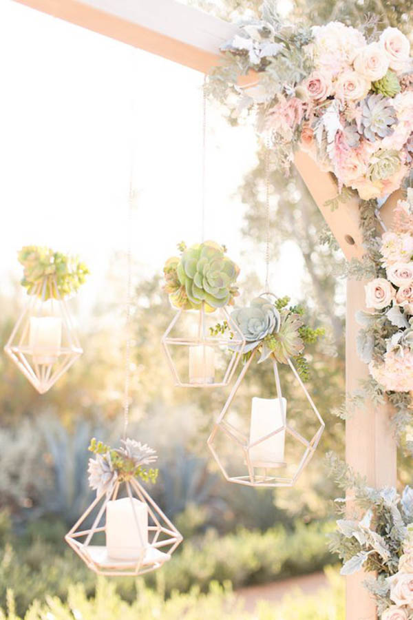 Geometric Flower arrantments make great party ideas - See more amazing party trends for 2016 at B. Lovely Events!